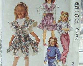 McCall's 6816 Toddler Sewing Pattern, SALE Girl's Applique T- Shirt, Ruffled Skirt, Elastic Waist Pants, Vintage 90's Pattern, Size 2 - 4