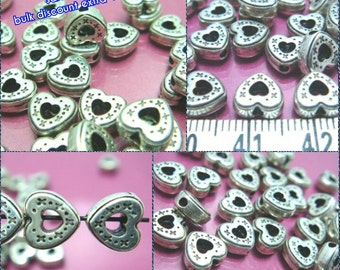 sales -40% / H501MZ / 50 Pc / 250 Pc / 8 x 8 x 4 mm - Antique Silver Metalized Plastic Hollow Heart with Side Hole Beads