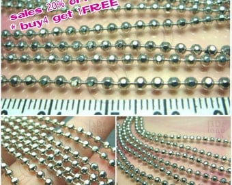 clearance -40% / T110RH / 1Meter / Ball Diameter 2.3mm - Rhodium Plated Faceted Ball Chain Findings