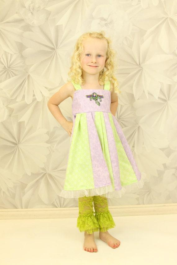 custom boutique twirl dress made with buzz lightyear patch   size 2-6
