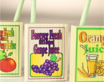 Food Juice Boxes - Wooden quick ship - Set of 4