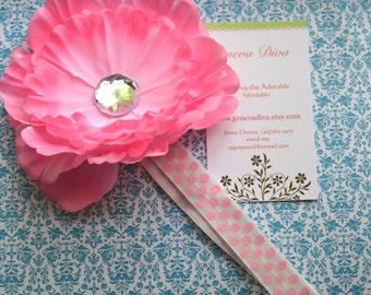 Pink Peony Flower Clip and Pink Polka Dot FOE Headband