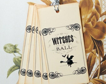 Halloween Tags Goth Witches Ball Vintage Style Gift Tags Party Favor Treat Bag Tags Handmade TH012
