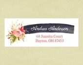 Return address labels, stickers, rectangular--vintage rose