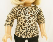 "Doll T shirt Fits 18"" Girl Sized Dolls Leopard Animal Safari Jungle Print Stretch Cotton Knit Top Girls Toy"