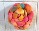 "Wool Roving Polwarth / Silk Roving Spinning fiber   Hand Dyed ""Nebula""  Combed top"