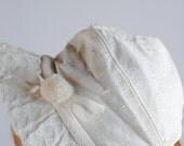 Vintage 1950's Baby Girl Bonnet - White Pom and Knit Brim