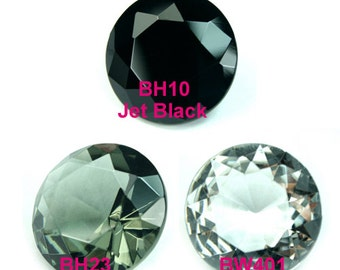 Round  20mm Glass Jewel Faceted Diamond Cut Pointed Back Unfoiled - Diamond Clear, Black Diamond, Jet Black - Pick Your Color