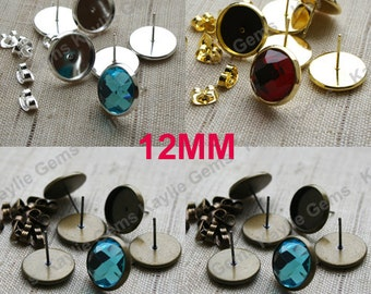 8 Earring Stud Fits Round 12mm Cabochon Cab Setting with Backing - Gold, Silver, Antique Brass