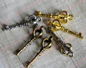 Key Charm Cage Top Pendant Drop - Antique Brass, Antique Silver, Gold - 6pcs