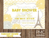 Custom Printed Paris Yellow  Chevron Floral Baby Shower Invitations - 1.00 each with envelope