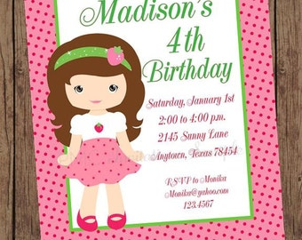Blonde or Brunette Strawberry Girl Birthday Party Invitations  - 1.00 each with envelope