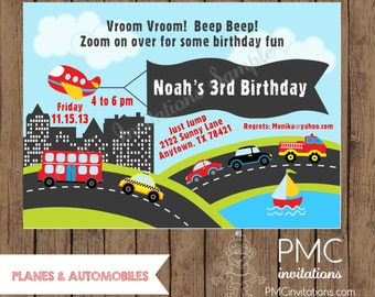 Custom Printed Planes and Automobile Birthday Invitations - 1.00 each with envelope