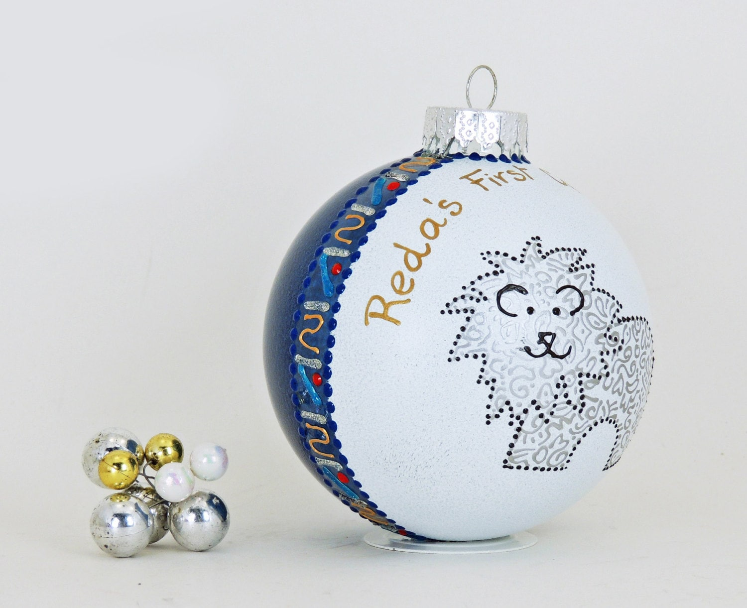New baby ornament hand painted personalized glass ball