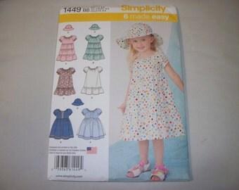 New Simplicity Girl's Dress  Pattern, 1449 BB (2, 3, 4)  (Free US Shipping)