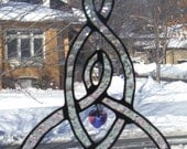 Celtic Knot Mother and Child Stained Glass Suncatcher with Faceted Crystal Heart