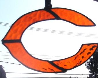 Stained Glass Ornament/Suncatcher GO BEARS...Orange Chicago Bears Suncatcher