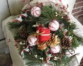 Santa Hat Peppermint Centerpiece, Primitive, Rustic, Christmas Centerpiece, Winter Centerpiece, Peppermint Centerpiece, Ofg, Faap, Hafair