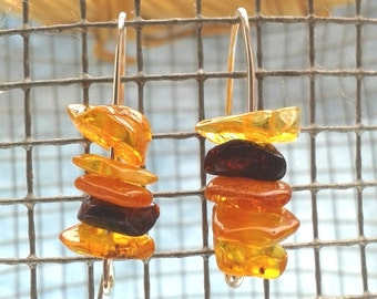 Baltic Amber Minimalist Earrings Silver Arch Hooks - Contemporary Amber Earrings from Baltic Sea Europe