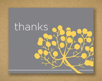 10 Mid Century Gunmetal and Mustard Floral Print Thank You Cards