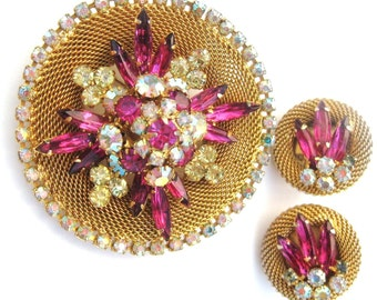 1950s Vintage Signed Set Hobe Rhinestone Mesh Brooch Pin & Earrings, Fuchsia Pink + Citrine Yellow, Mid Century Designer Demi Parure