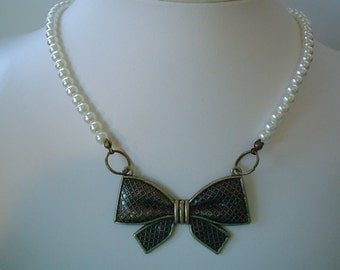 SALE  Antique Bronze Plated Bow Necklace with Light Ivory Pearls