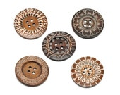 "Extra large button - 5 wooden button 60mm (2 3/8"") - mixed patterns  (BB160M1)"