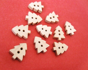 10 Christmas tree Wooden Buttons - craft buttons 14x12mm (BB089)