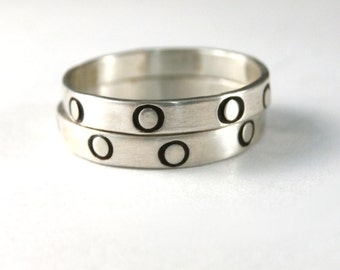 Polkadot Ring, Stack Ring, Silver Band, Silver Ring, This Listing Is For One Sterling Silver Stack Band