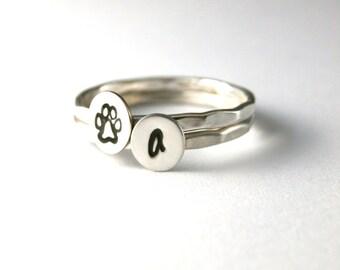 Paw Print Rings, Stack Rings, Initial Rings, Pet Lover Rings, Custom Initial Paw Print, Silver Stack Rings, Dog And Cat Paw Print Rings