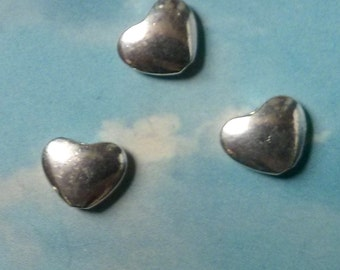 SALE - 40 heart beads, shiny silver tone, 11mm