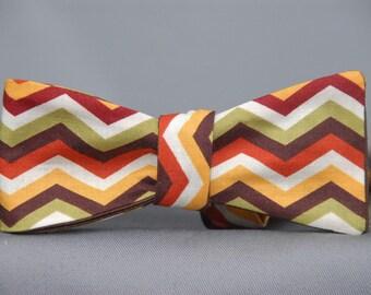 Warm Multicolored Chevron  Bow Tie