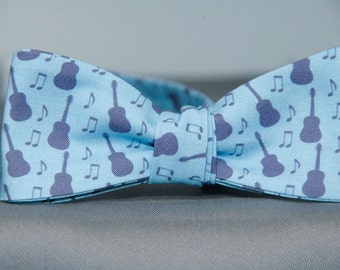 Blue Musical Guitars  Bow Tie