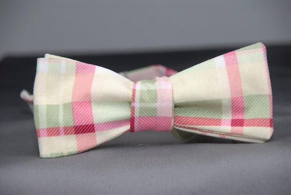 Green and Pink Plaid Mens Bow Tie