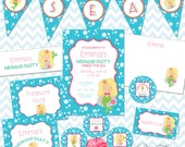 Mermaid Party Printables Instant Download - The Emma Collection