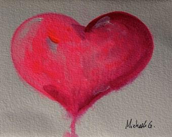 Original Fine Art Painting - Pink Heart  Valentine