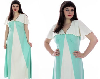 70s Does 30s Dress Disco Mint Green Cream Colorblocked Caplet Empire Waist Party Hostess Cocktail Full Skirt  Event Large L XL