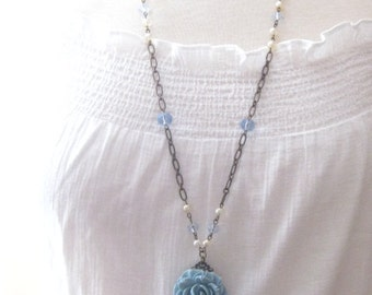 Long Powder Blue Rose Flower Pendant Necklace
