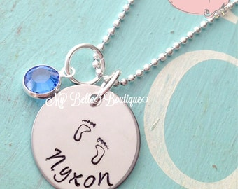 Personalized Hand Stamped Baby Foot Print Necklace with Drop Style Swarovski Birthstone