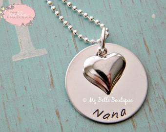 Personalized Hand Stamped Necklace with Silver Heart Charm