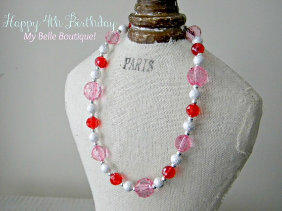 Little Girls Bubblegum Chunky Style Beaded Necklace - Crystal Clear Pink Red and Silver Accent Beads
