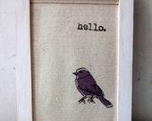 "Screenprint / Linocut print - 5"" x 7"" Hello Bird Fabric Print - Purple"