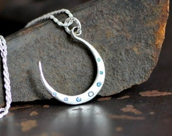 Blue moon necklace, sterling silver moon necklace with diamond flush sets in your choice of color