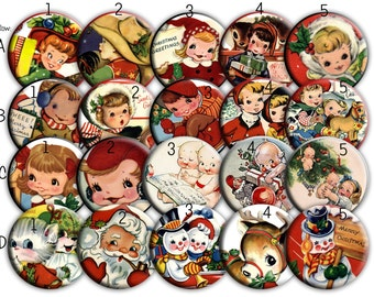 Retro Christmas Children Cowboys  2.25 Pinback buttons, Mirrors or Magnets Set of 12  for Birthday, Christmas Party Favors and Gifts