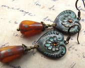 Heart earrings, vintage inspired with verdigris patina and amber Czech glass