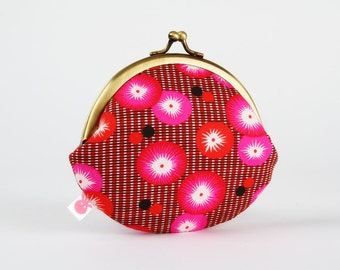 Metal frame coin purse - Coquelicots rouges - Daddy rounded purse / Petit Pan french fabric / Neon pink poppies / Black red floral summer