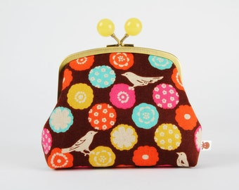 Metal frame clutch bag - Flower dots on brown - Color bobble purse / Echino / floral pattern / summer / pink yellow turquoise orange