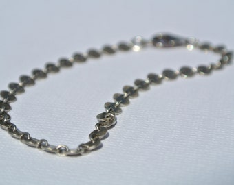 Textured Sterling Silver Disk Chain Bracelet- Silver Chain Bracelet