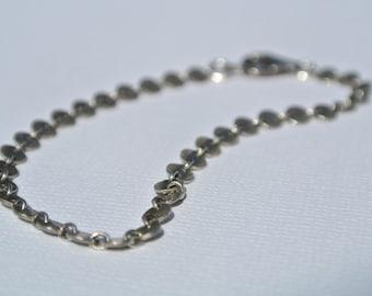 Textured Sterling Silver Disk Chain Bracelet- Silver Chain Bracelet