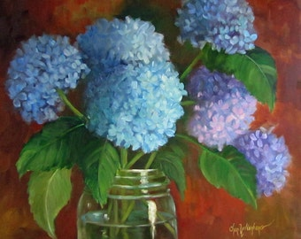 Blue Hydrangeas, Mason Fruit Jar,Still Life Painting, 16x20 Canvas, Original Oil Painting by Cheri Wollenberg